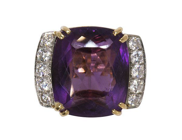 Amethyst, diamond, 18k yellow gold and platinum ring