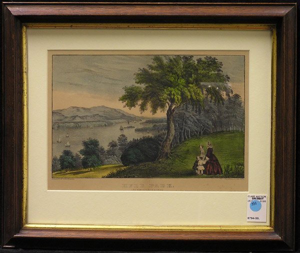 454: Print Currier Ives lithograph Hyde Park