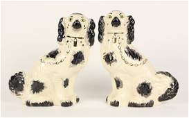 Pair of English ceramic Staffordshire style dog
