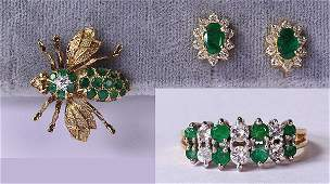 Lot of 3 Emerald diamond and 14k yellow gold jewelry