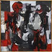 Painting Abstract RedBlackGrey
