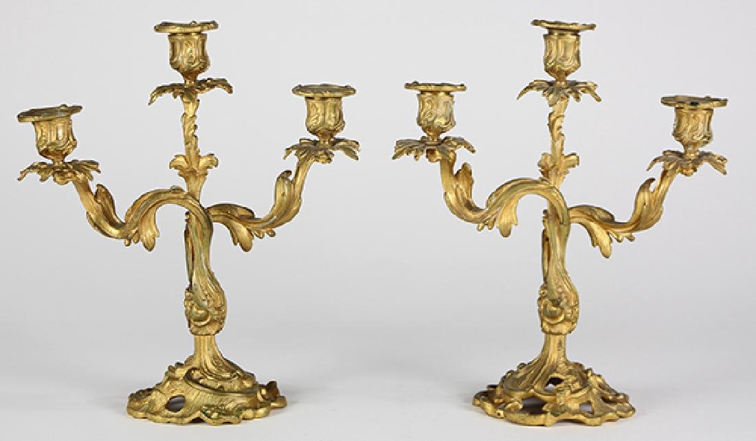 Pair of Neoclassical style gilt bronze candelabra