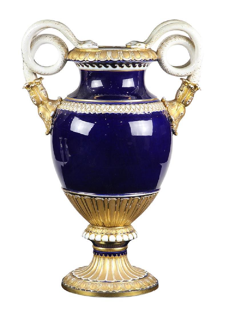 Large Meissen cobalt and gilt porcelain vase