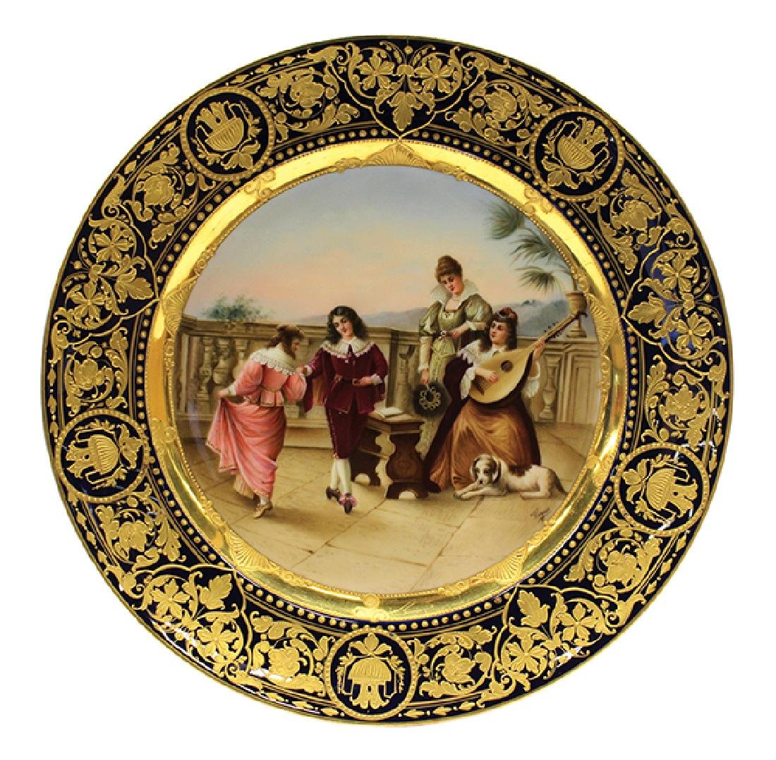 Royal Vienna hand painted scenic plate