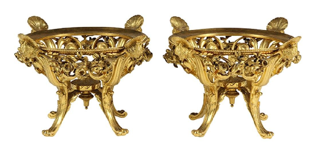 Pair of French Barbedienne gilt bronze center pieces,