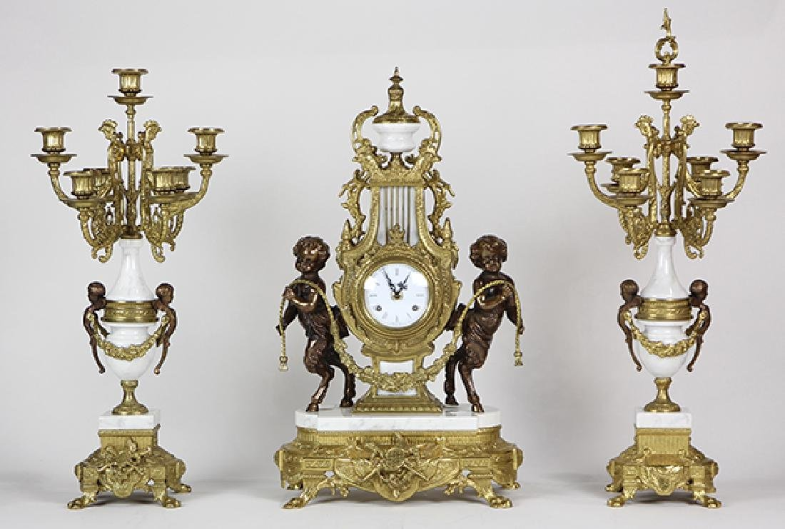 (lot of 3) Louis XV style mantle clock and garniture