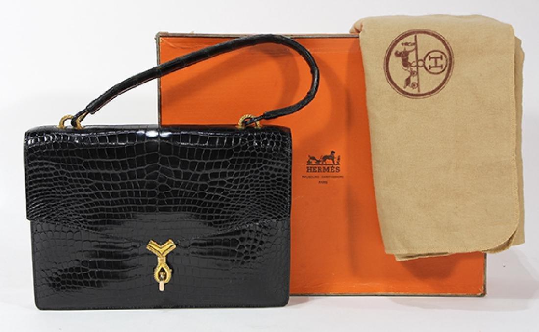 Hermès of Paris black crocodile `Cordeliere' handbag,