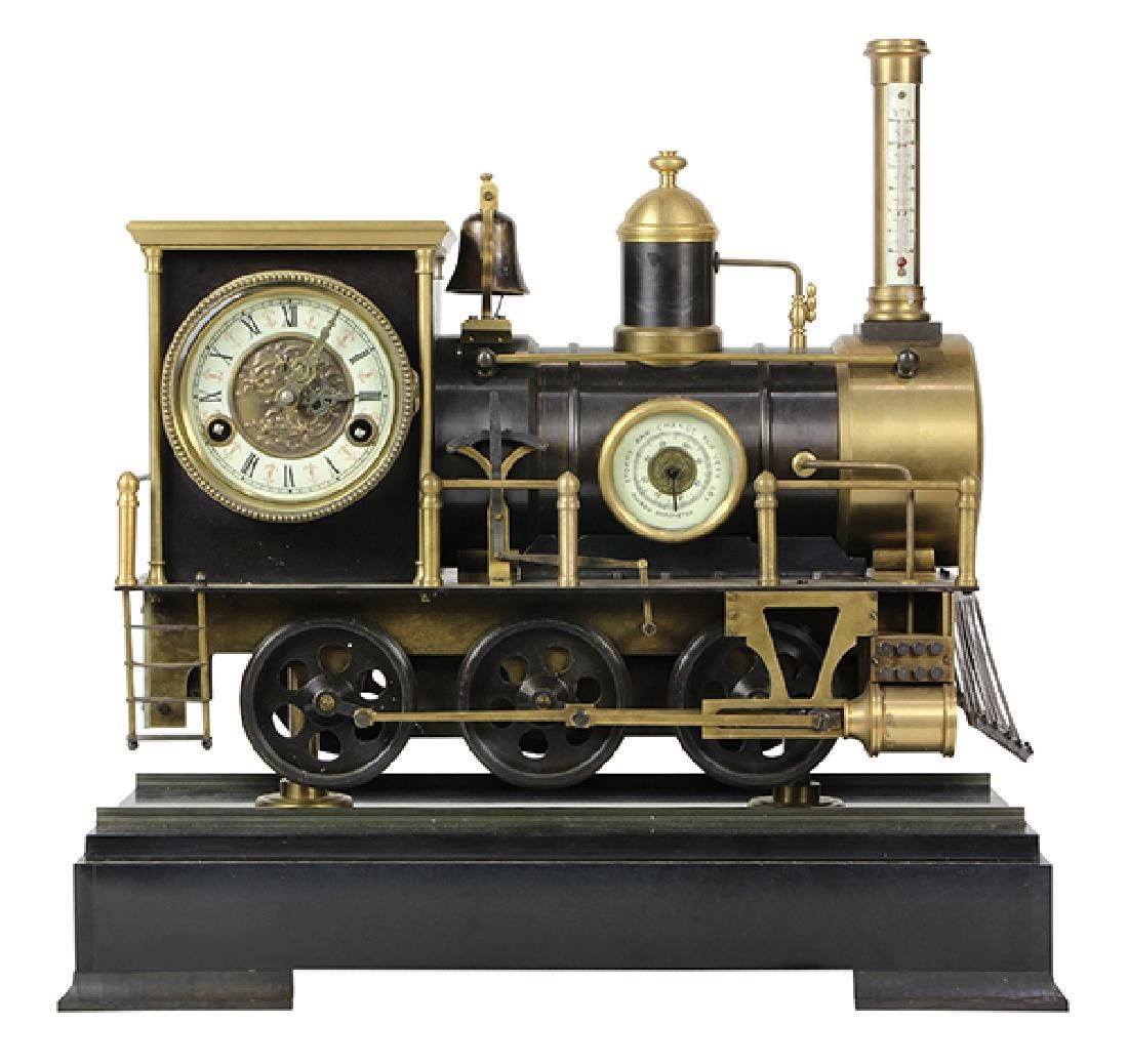 Animated Locomotive Industrial Clock, the bronze case