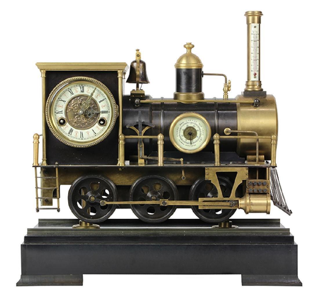 Animated Locomotive Industrial Clock, the bronze case