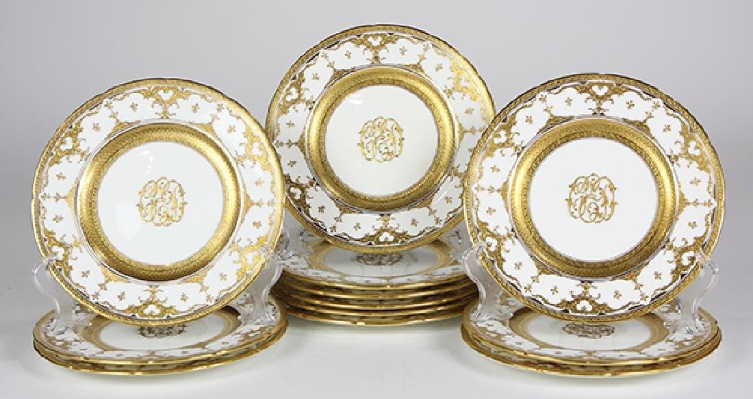 (lot of 12) Coalport porcelain dinner plates, retailed