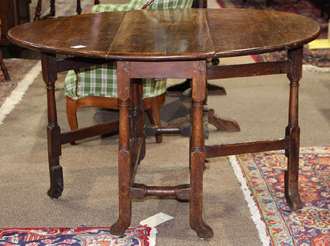William and Mary oak drop leaf table - 2
