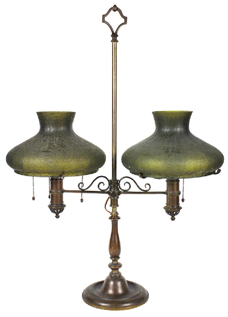 Handel patinated bronze adjustable student lamp
