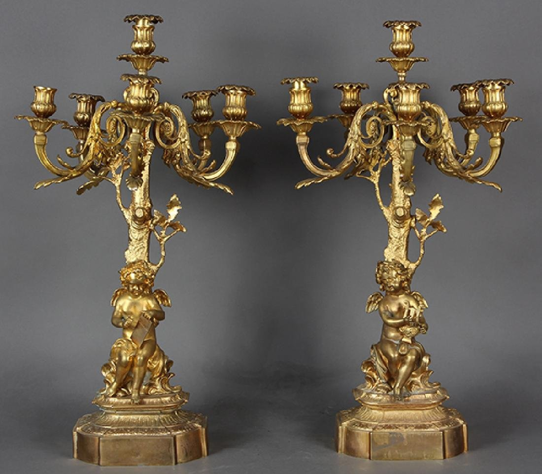Pair of Renaissance style gilt bronze candelabra,