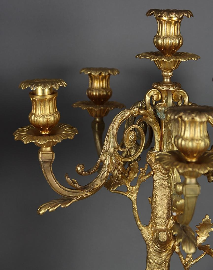 Pair of Renaissance style gilt bronze candelabra, - 4