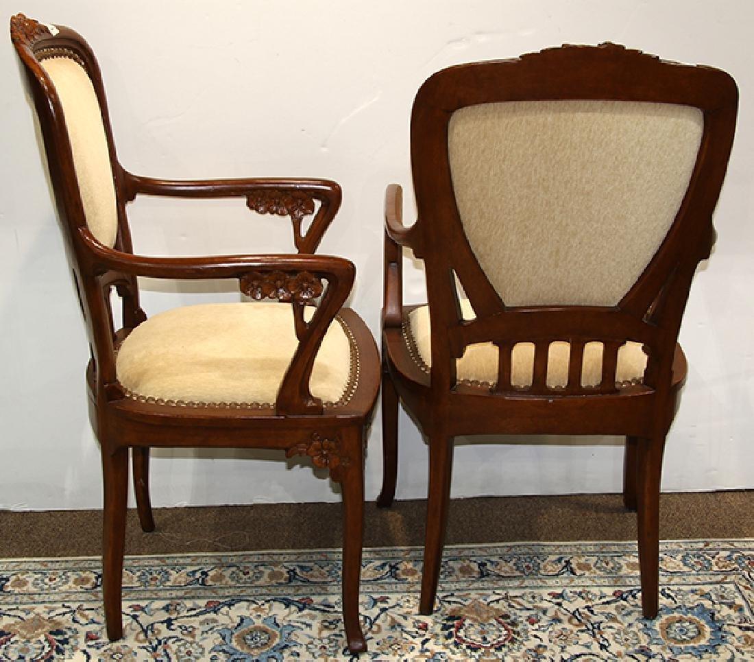 Pair of Art Nouveau style carved fauteuils - 2