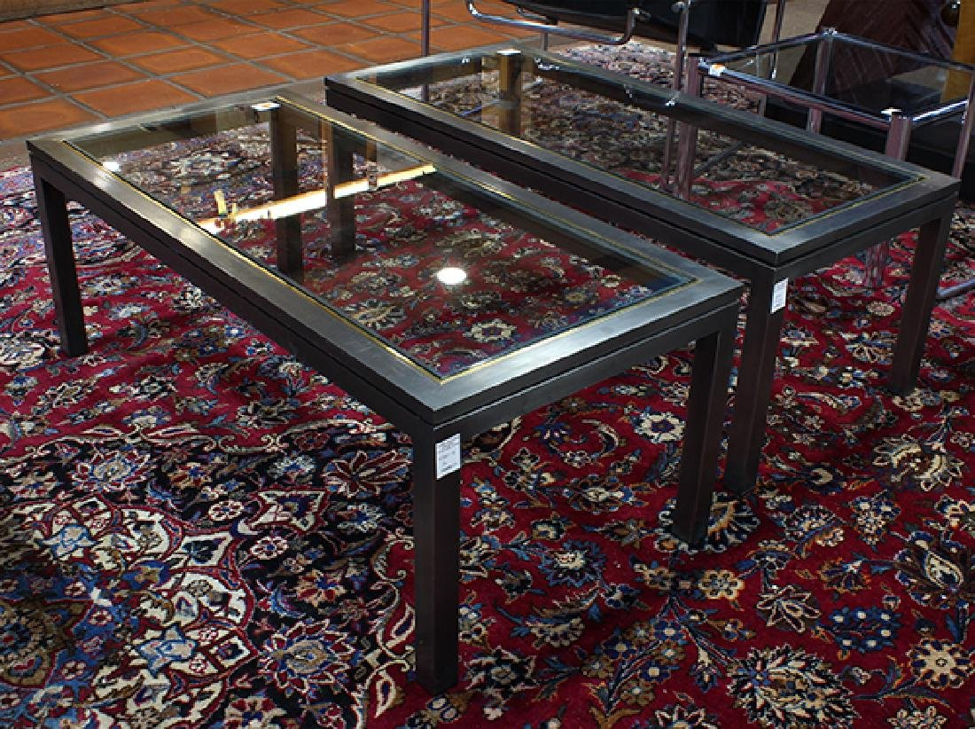 Pair of modern rectangular coffee tables, each with a - 4