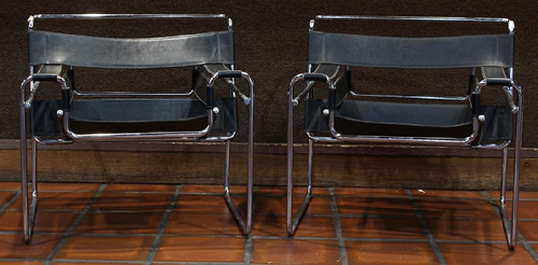 Pair Marcel Breuer style Wassily chairs circa 1980
