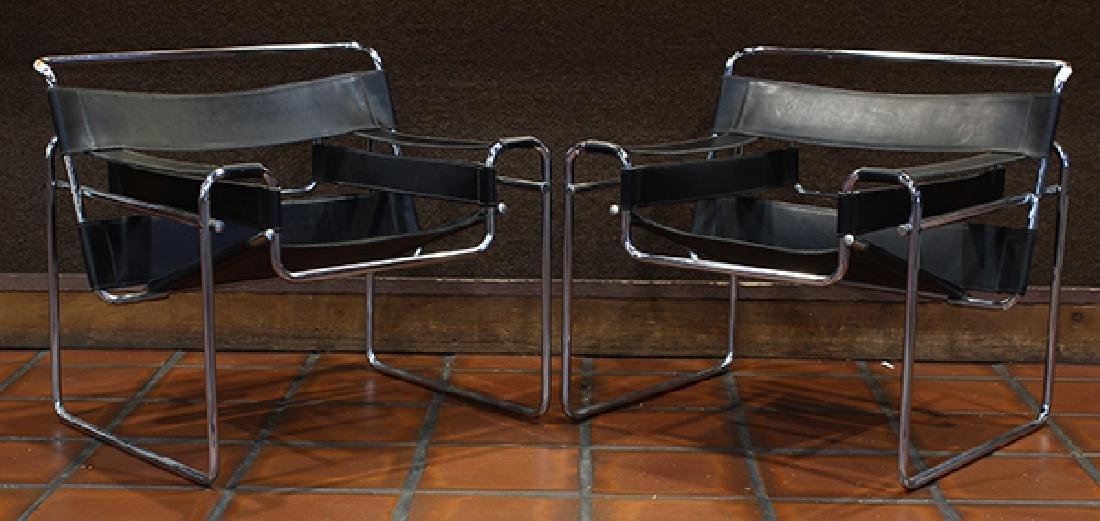Pair Marcel Breuer style Wassily chairs circa 1980 - 2