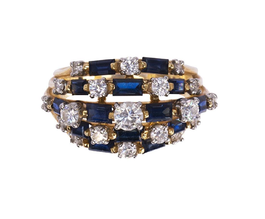 Oscar Heyman Sapphire, diamond, platinum and 18k yellow
