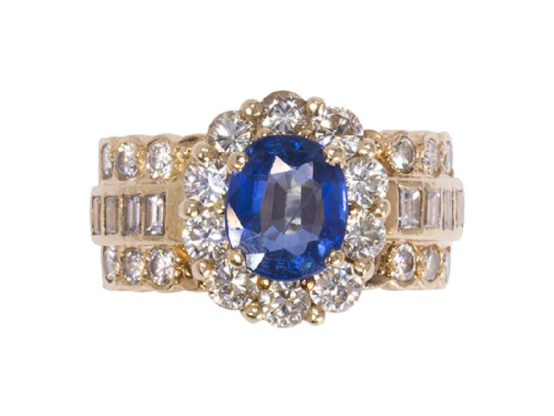 Sapphire, diamond and 14k yellow gold ring