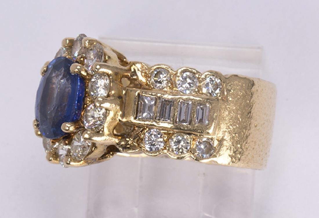 Sapphire, diamond and 14k yellow gold ring - 2