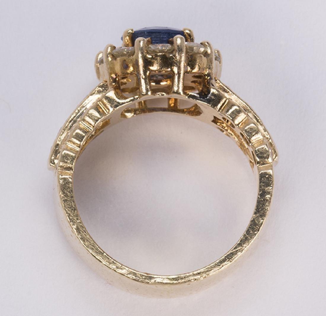 Sapphire, diamond and 14k yellow gold ring - 3