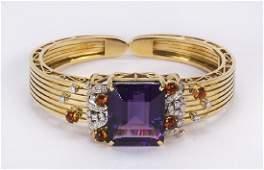 Amethyst citrine diamond and 18k yellow gold bracelet