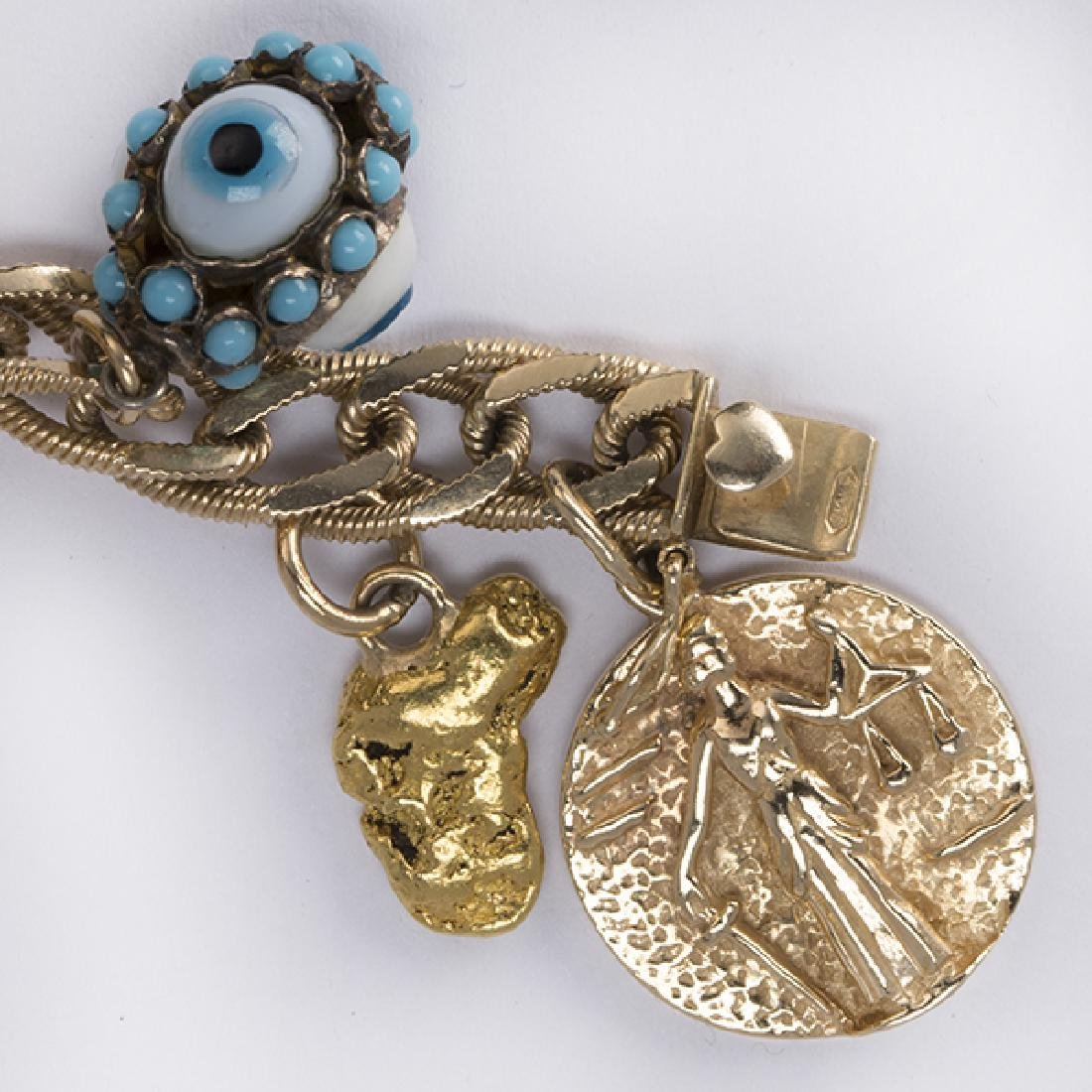 Multi-stone and yellow gold charm bracelet - 5