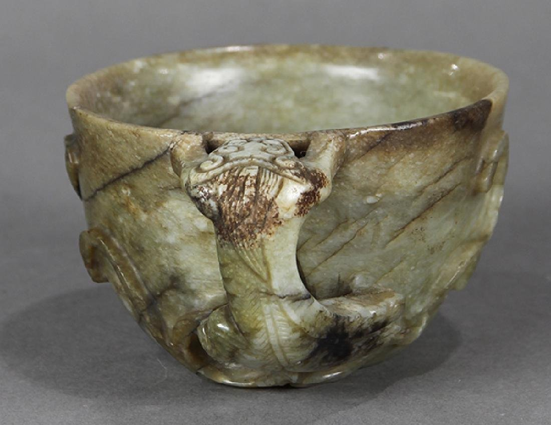 Chinese Chilong Handled Hardstone Cup - 2