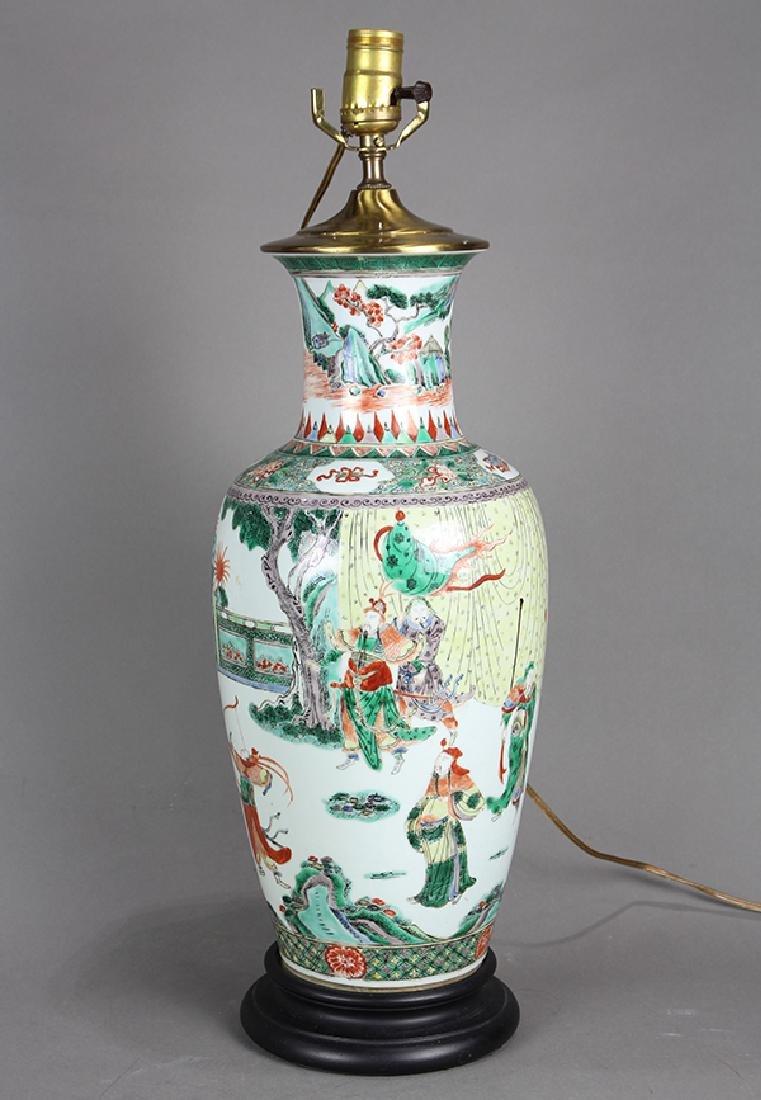 Chinese Famille Verte Vase, Figures