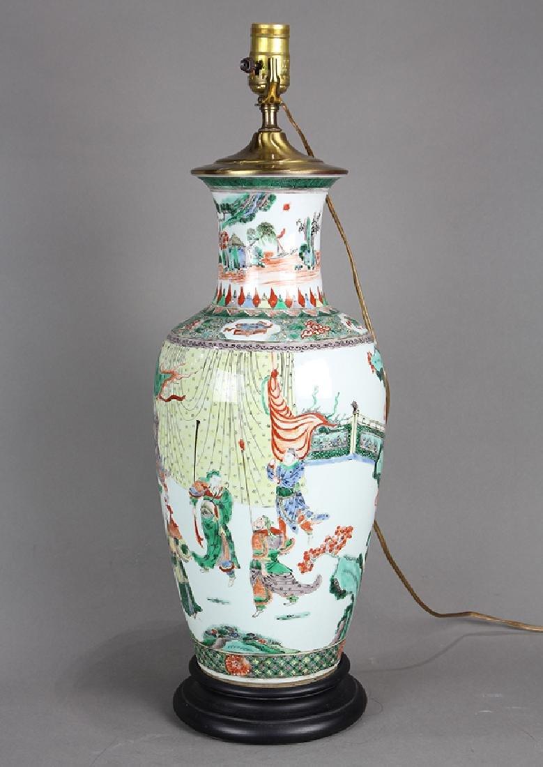 Chinese Famille Verte Vase, Figures - 2