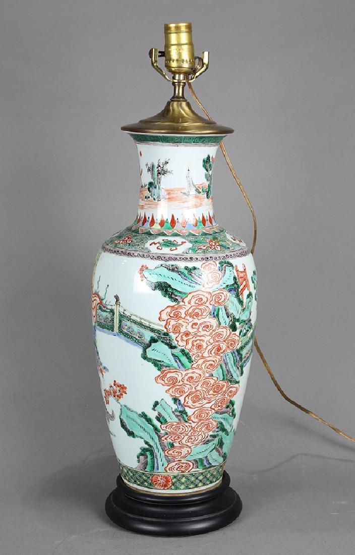 Chinese Famille Verte Vase, Figures - 3