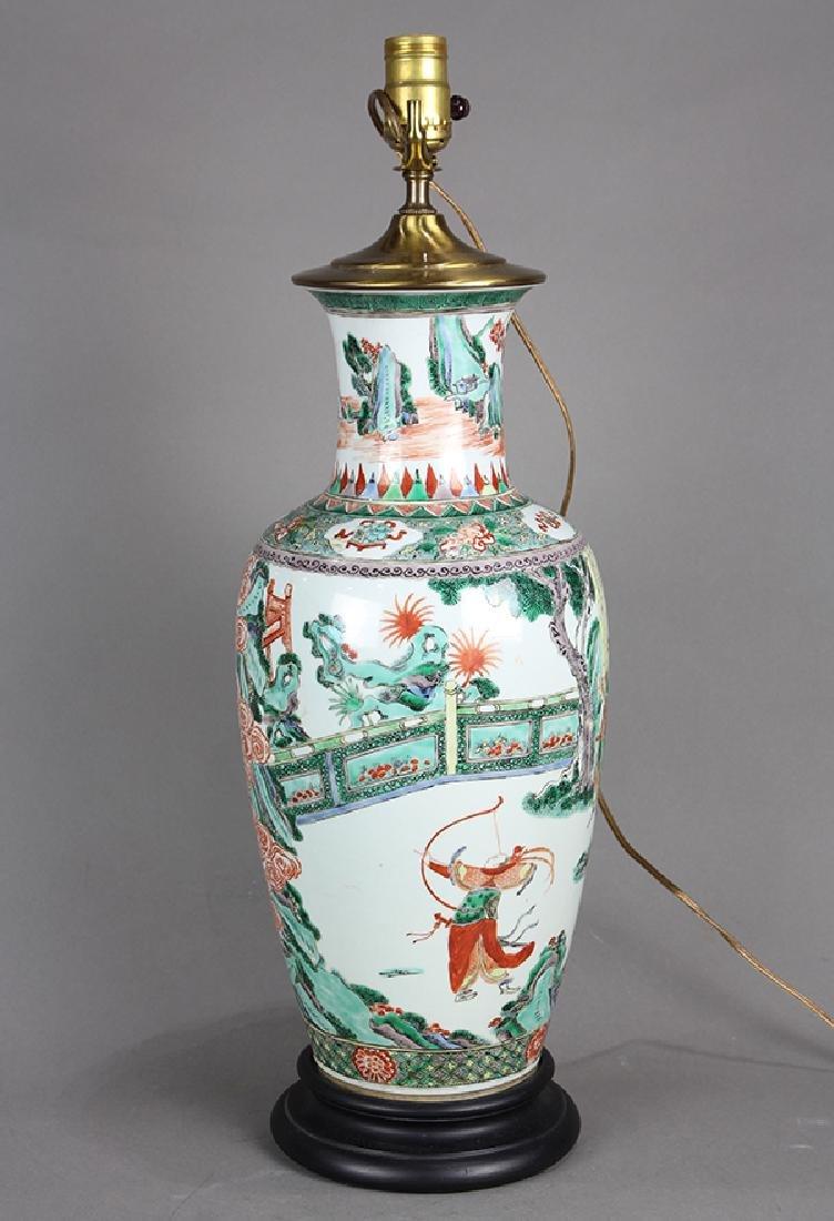 Chinese Famille Verte Vase, Figures - 4