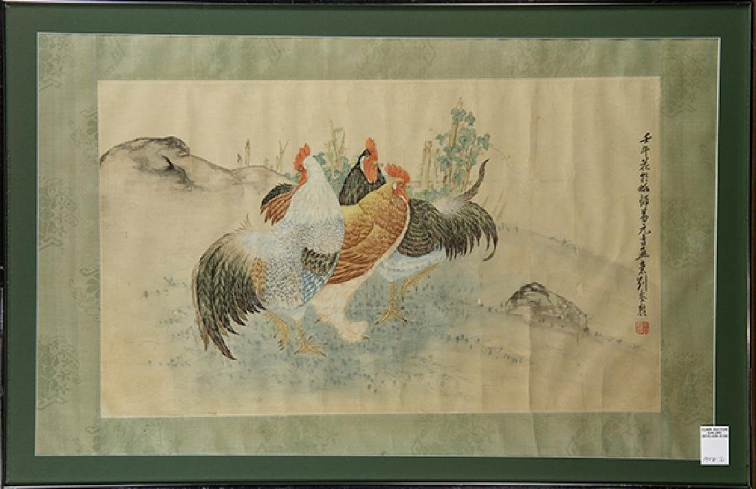 Chinese Painting, Manner of Liu Kuiling, Roosters