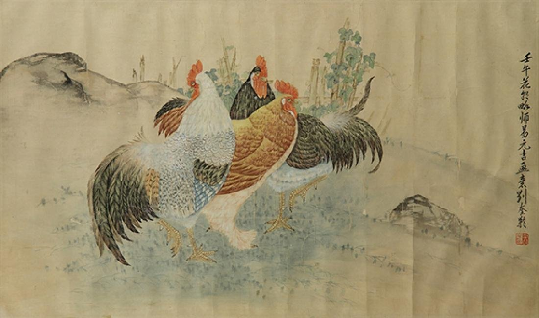 Chinese Painting, Manner of Liu Kuiling, Roosters - 2