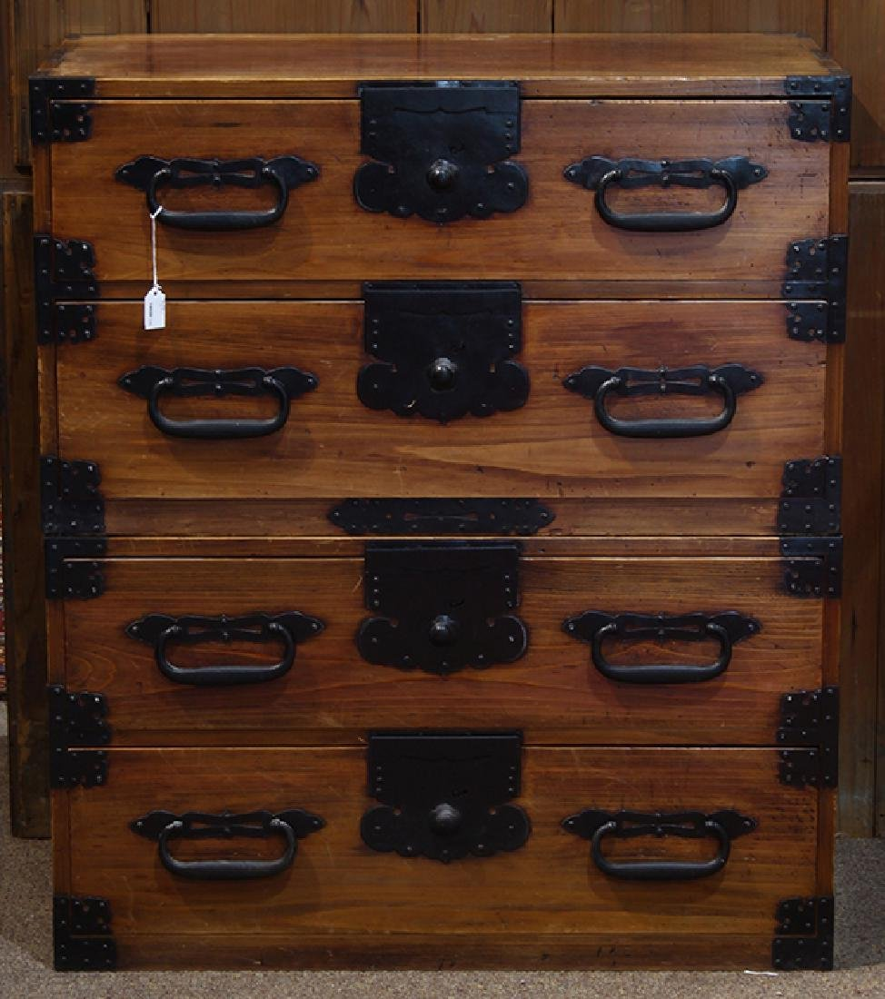 Two Piece Japanese Tansu Cabinets