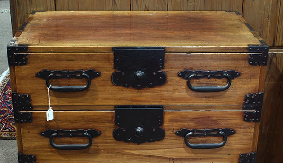 Two Piece Japanese Tansu Cabinets - 2