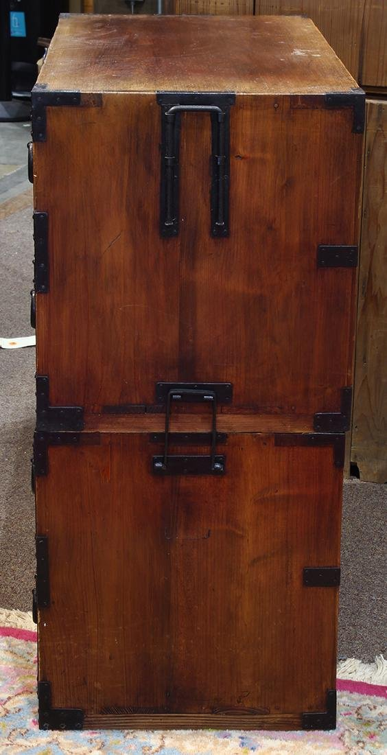 Two Piece Japanese Tansu Cabinets - 4