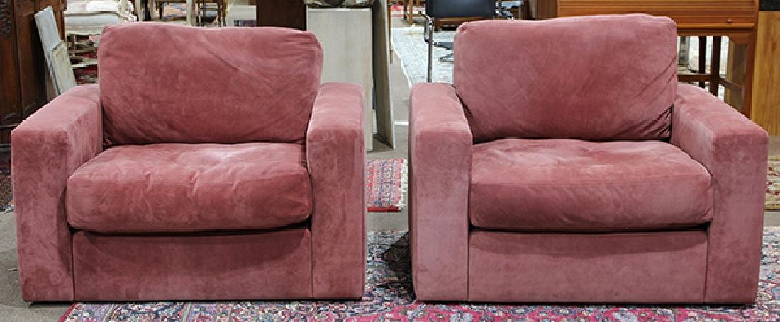 Pair of large purple suede upholstered club chairs