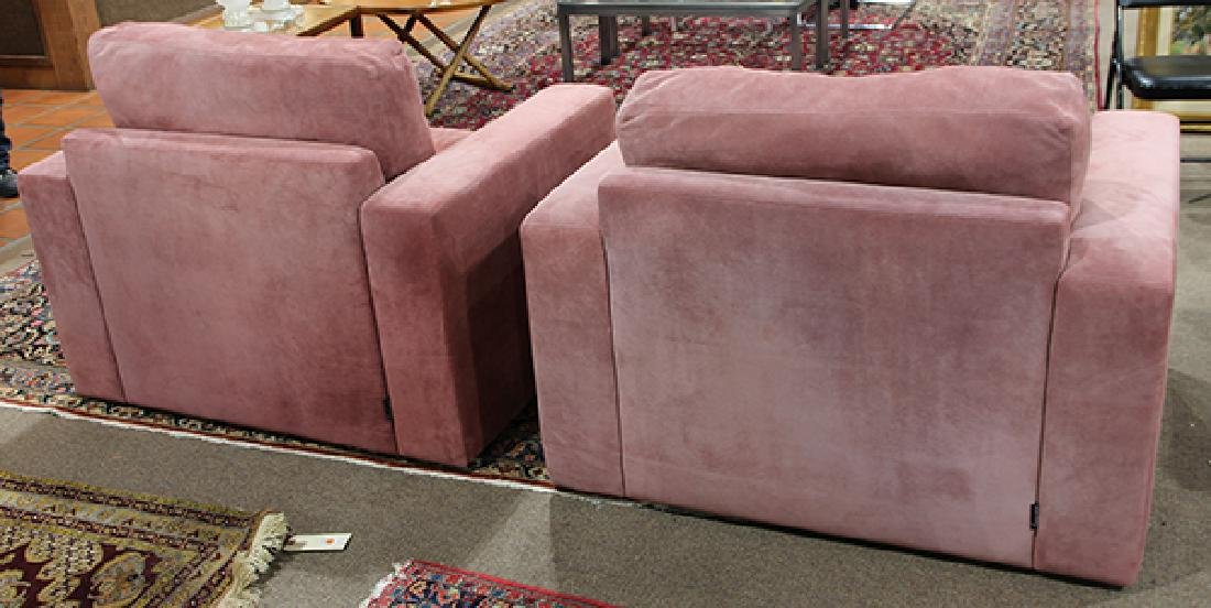 Pair of large purple suede upholstered club chairs - 3