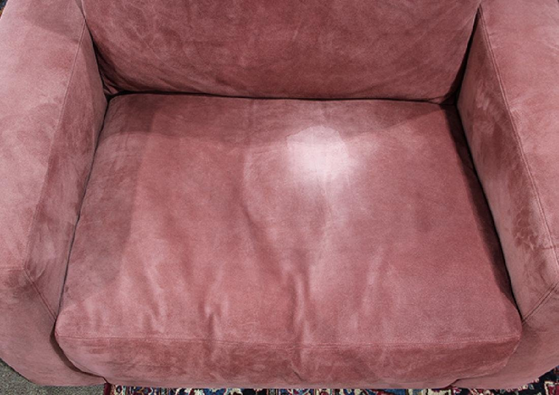 Pair of large purple suede upholstered club chairs - 4