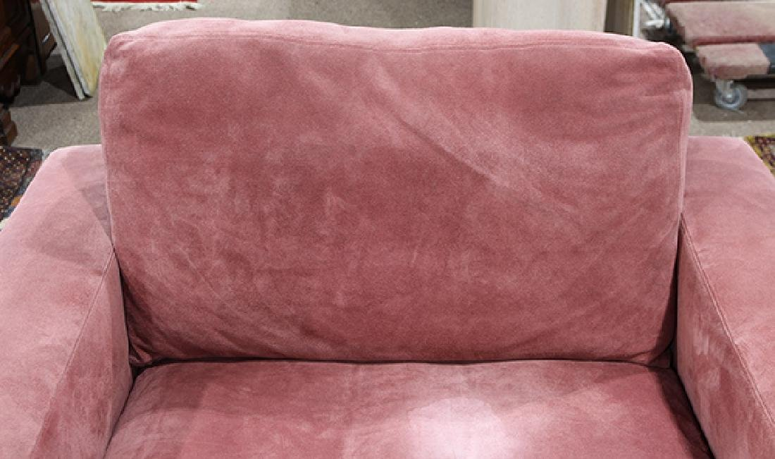 Pair of large purple suede upholstered club chairs - 5