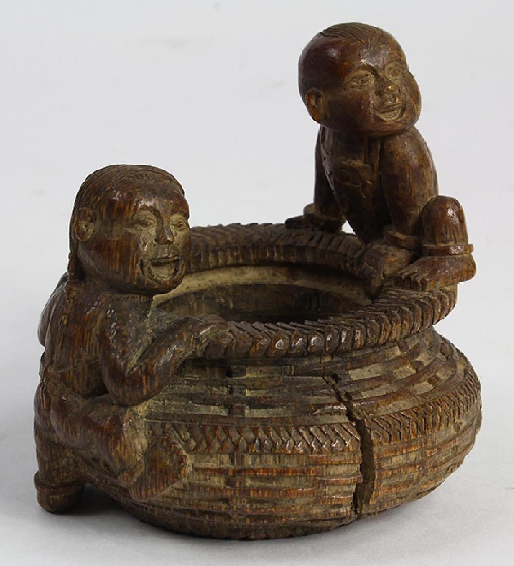 Chinese Bamboo Vessel, Basket and Children