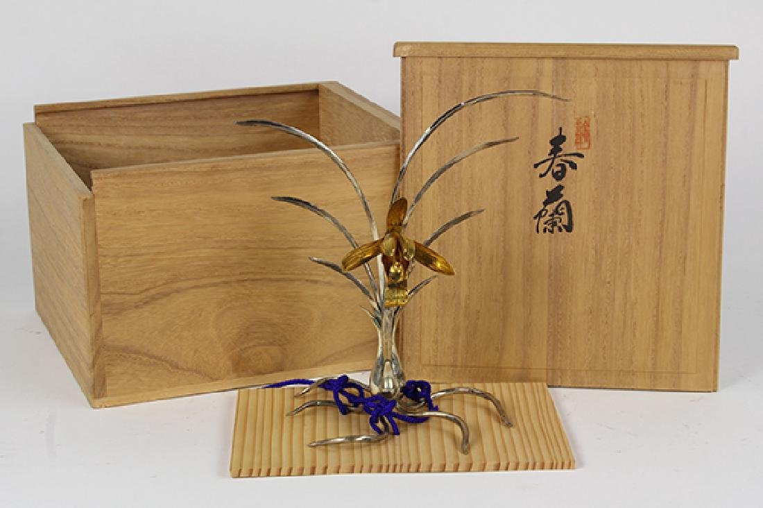 Japanese Silver Okimono Spring Orchid
