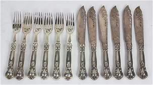 lot of 12 Gorham sterling silver handled fish set for