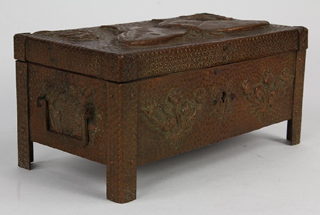 Austrian Art Nouveau style copper lined document box,