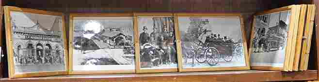 One shelf of photographic reproductions of historical