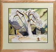 Watercolor Spring Landscape with Figure Leaving a Barn