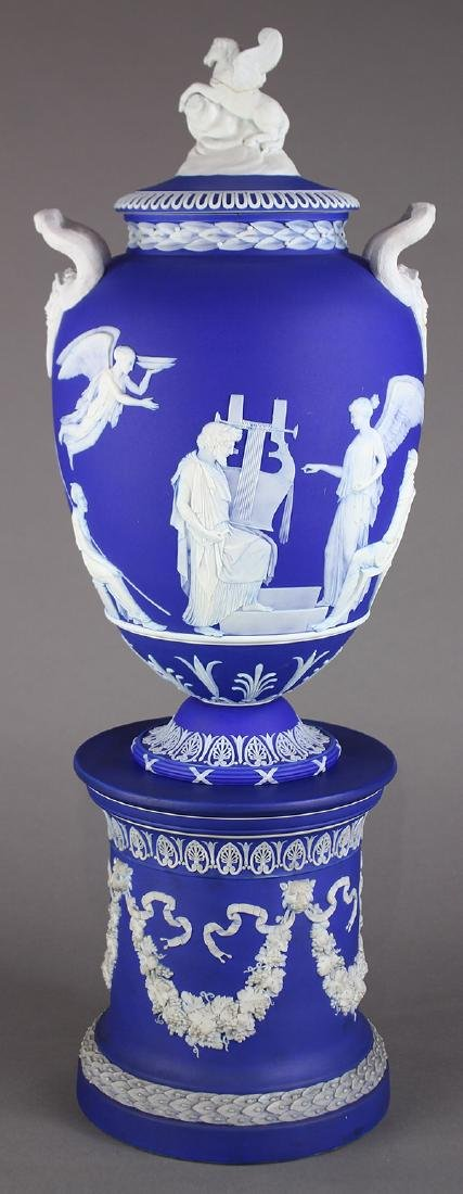 Josiah Wedgwood and Sons covered vase and pedestal,
