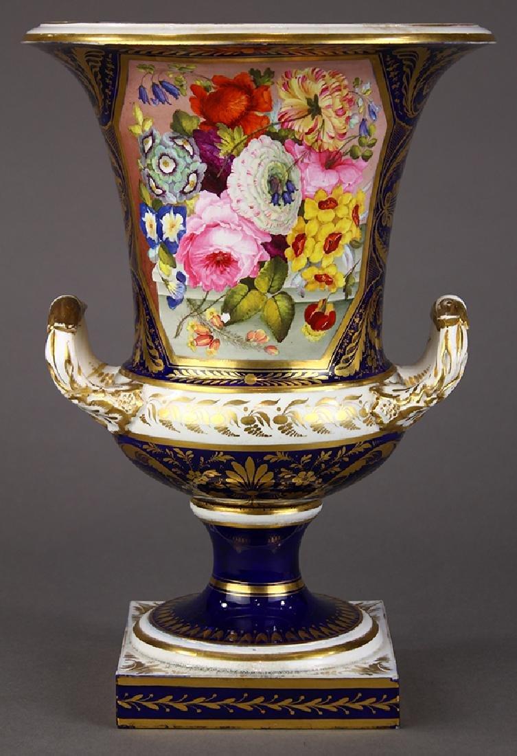 English Derby porcelain cobalt blue ground urn form